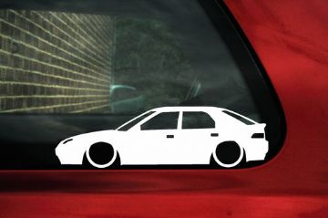 2x LOW Mazda 323F / 323 familia Astina. car silhouette,outline stickers, Decals (1)